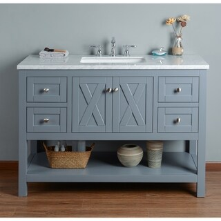 Stufurhome Anabelle 48 Inches Grey Single Sink Bathroom Vanity