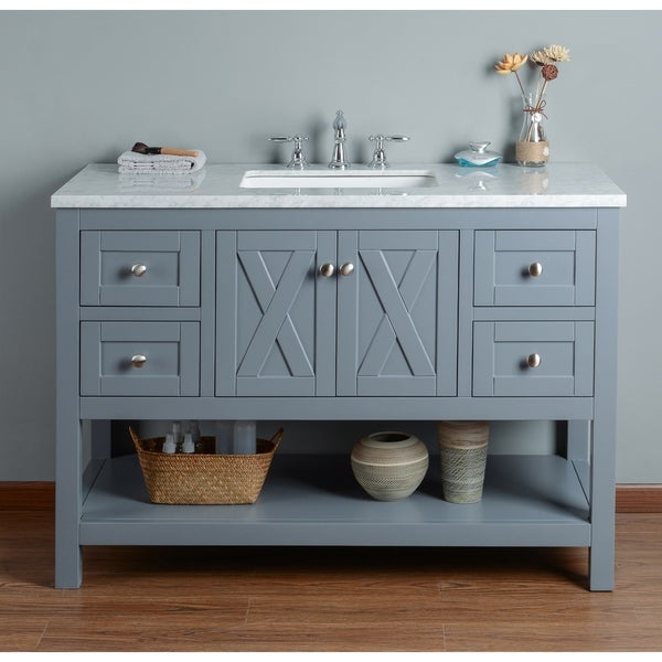 Shop Stufurhome Anabelle Inches Grey Single Sink Bathroom Vanity - 48 inch grey bathroom vanity