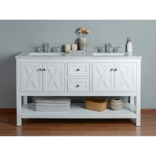 Stufurhome Anabelle White 60 Inch Double Sink Bathroom Vanity