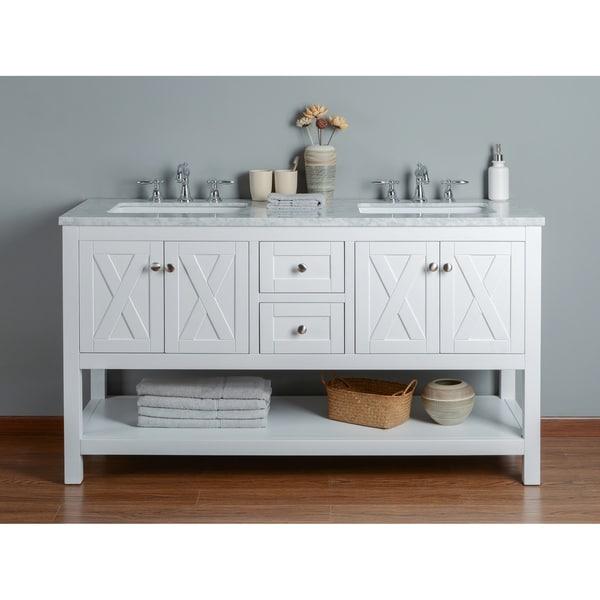 Stufurhome Anabelle White 60-inch Double-sink Bathroom Vanity