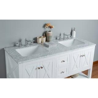 Stufurhome Anabelle 60 Inches White Double Sink Bathroom Vanity