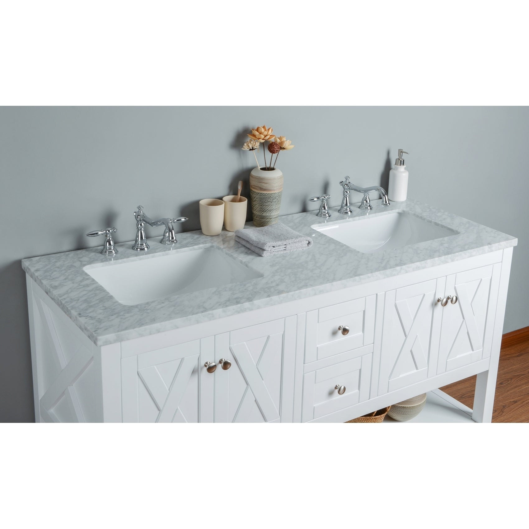 Stufurhome Anabelle White 60 Inch Double Sink Bathroom Vanity
