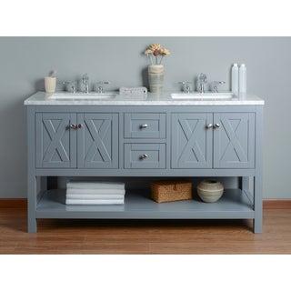 Stufurhome Anabelle 60 Inches Grey Double Sink Bathroom Vanity