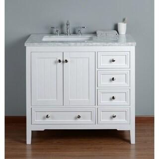 Stufurhome New Yorker 36 Inches White Single Sink Bathroom Vanity