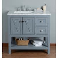 Stufurhome Anabelle Grey Oak 36-inch Single-sink Bathroom Vanity with White Marble Top