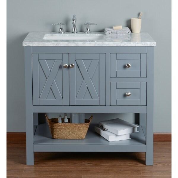 Stufurhome Anabelle 36 Inches Grey Single Sink Bathroom Vanity