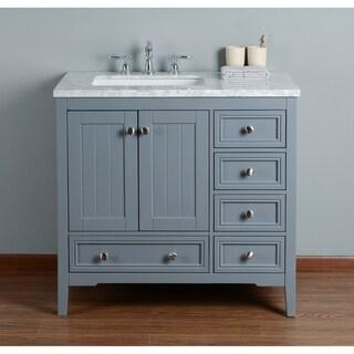 Stufurhome New Yorker 36 Inches Grey Single Sink Bathroom Vanity