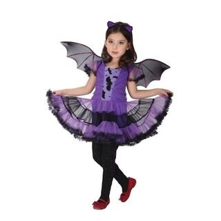 Spooktacular Girls' Beautiful Purple Bat Girl Ballerina Costume Set