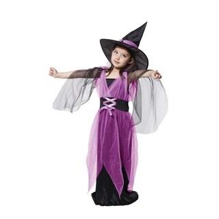 Spooktacular Girls' Elegant Purple Witch Costume Set