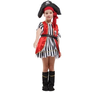 Spooktacular Girls' Red Pirate Costume Set with Dress and Accessories