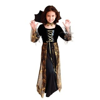 Spooktacular Girls' Elegant Gold Spider Enchantress Costume Set