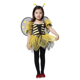 Spooktacular Girls' Beautiful Bumblebee Costume Set with Wings