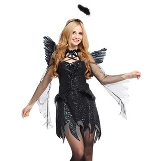 Spooktacular Women's Dark Angel Costume with Elegant Black Dress & Accessories