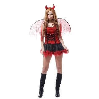 Spooktacular Women's Devilish Diva Red Devil Costume with Dress & Accessories
