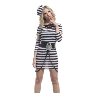 Spooktacular Women's Striped Jailbird Inmate Costume with Dress & Accessories
