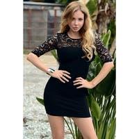 Mini 3/4 Lace Sleeves Dress