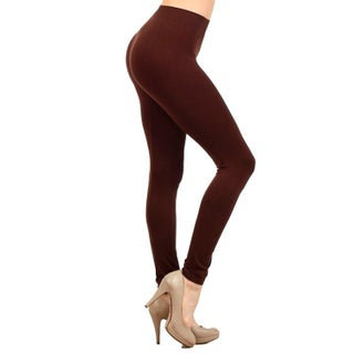 Lady's Classic Full Length Seamless Leggings (Option: Brown)