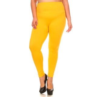 Lady's Full Length Seamless Fleece Leggings Plus Size (Option: Yellow)