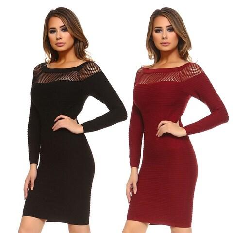 Seamless Textured LS Midi Dress