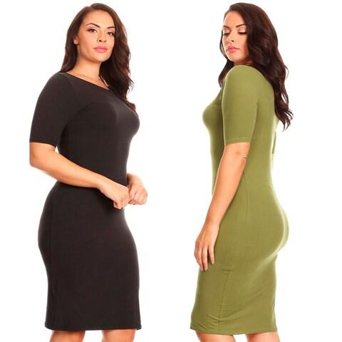 Short Sleeve Crew Neck Midi Bodycon Dress Plus Size