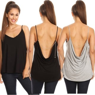 Cowl Back Spaghetti Top w/ Chain Detail