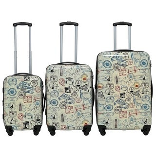 "Rivolite PC 3 Piece Luggage Set: 20"" 24"" 28"" Portable Suitcase Lightweight Unique Design Carry On Luggage(stamps)"