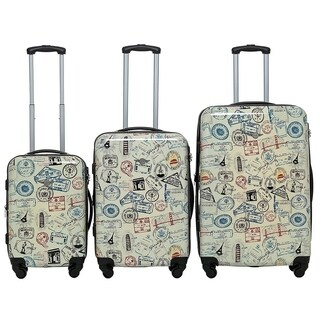 "Rivolite PC 3 Piece Luggage Set: 20"" 24"" 28"" Portable Suitcase Lightweight Unique Design Carry On Luggage(stamps) (2 options available)"