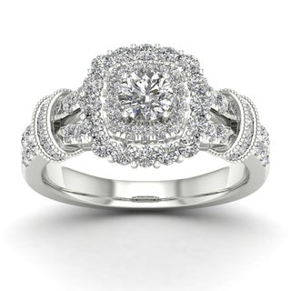 De Couer 1ct TDW Diamond Halo Engagement Ring