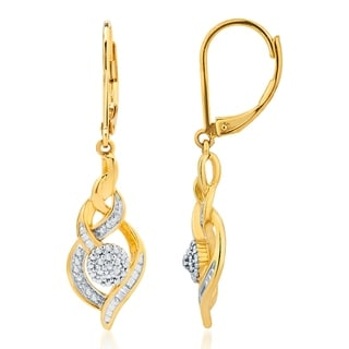 Divina Dimaond Accent 14K Gold overlay lever back Hoop Earring(I-J,I3)