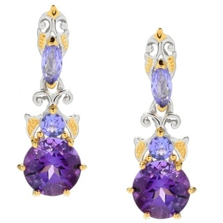 Michael Valitutti Palladium Silver Congo Amethyst & Tanzanite Drop Earrings
