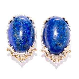 Michael Valitutti Palladium Silver Lapis Lazuli Earrings w/ Omega Back|https://ak1.ostkcdn.com/images/products/17651822/P23863714.jpg?impolicy=medium