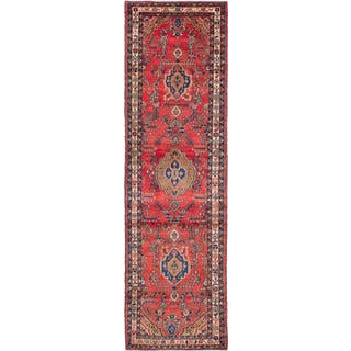 eCarpetGallery Hand-Knotted Hamadan Red Wool Rug (3'6 x 12'4)|https://ak1.ostkcdn.com/images/products/17651825/P23863713.jpg?impolicy=medium