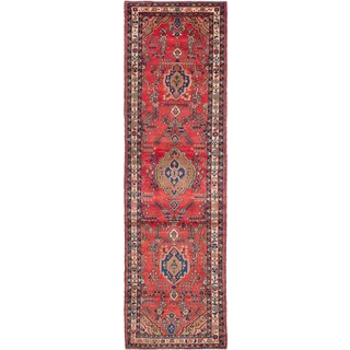 eCarpetGallery Hand-Knotted Hamadan Red Wool Rug (3'6 x 12'4)