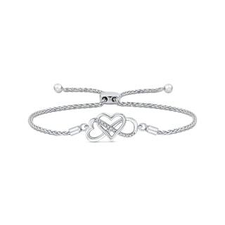 Sterling Silver Heart and Infinity Diamond Bolo Bracelet