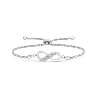 Sterling Silver Infinity Diamond Bolo Bracelet