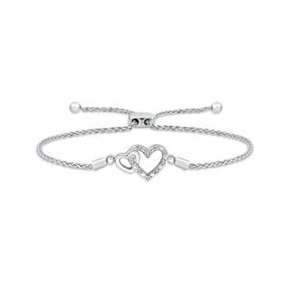 Sterling Silver Double Heart Diamond Bolo Bracelet