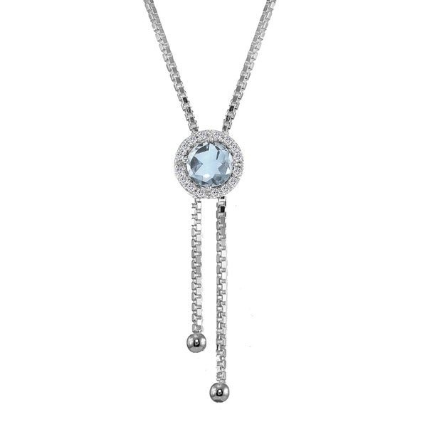 Glitzy Rocks Sterling Silver Blue and White Topaz Round Halo Drop Adjustable Lariat Necklace