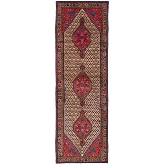 eCarpetGallery Hand-Knotted Koliai Brown, Red  Wool Rug (3'4 x 10'5)