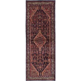 eCarpetGallery Hand-Knotted Hamadan Blue Wool Rug (3'6 x 9'11)