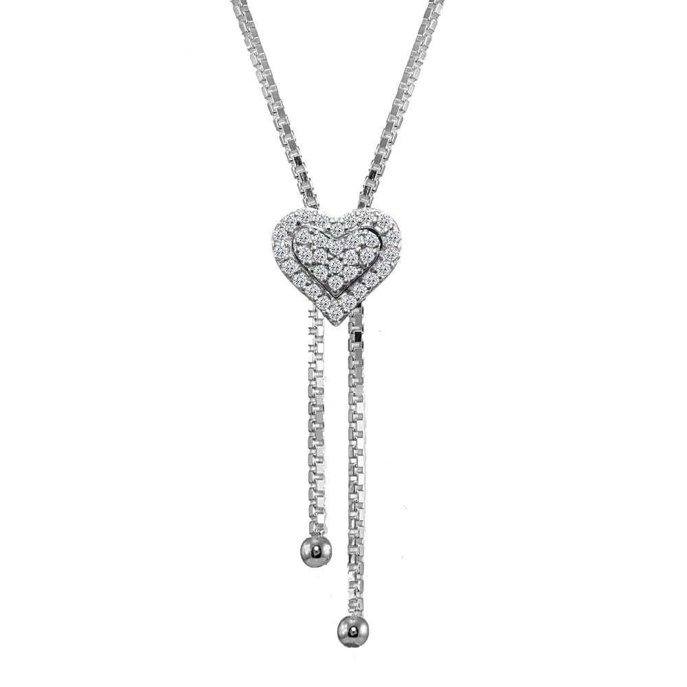 Fine Jewelry Frank Sterling Silver Cubic Zirconia Heart Pendant Fine Necklaces & Pendants