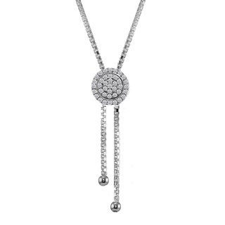 ICZ Stonez Sterling Silver Cubic Zirconia Round Halo Drop Adjustable Lariat Necklace