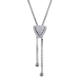 ICZ Stonez Sterling Silver Cubic Zirconia Triangle Halo Drop Adjustable Lariat Necklace