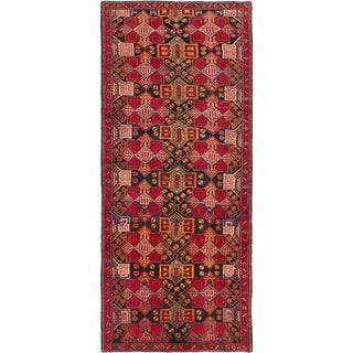 eCarpetGallery Hand-Knotted Meshkin Black, Red Wool Rug (4'4 x 10'1)