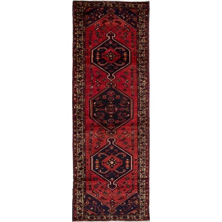 Hand-knotted Hamadan Copper Wool Rug - 3'5 x 10'1