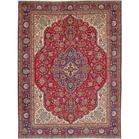 eCarpetGallery Hand-Knotted Tabriz Red  Wool Rug (8'10 x 11'8)