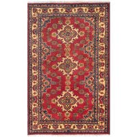 eCarpetGallery Hand-Knotted Finest Kargahi Red  Wool Rug (3'6 x 5'8)