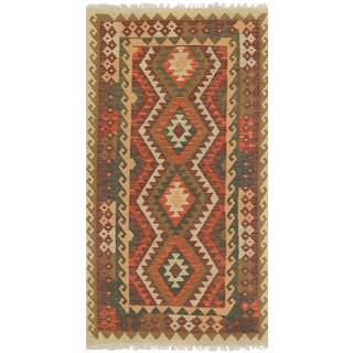 eCarpetGallery Flatweave Anatolian Kilim Brown, Red Wool Kilim (3'5 x 6'8)