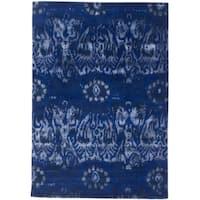 eCarpetGallery Hand-Tufted Cosmopolitan Blue  Wool,  Art Silk Rug (5'0 x 8'0)