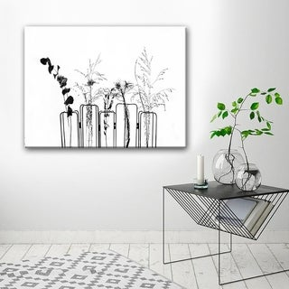 Ready2HangArt 'Black Flowers on White Background' Canvas Wall Decor