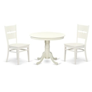 ANRO-LWH-W 3Pc set with a Round Table and 2 Wood Chair